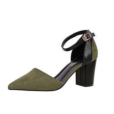 Noir 7 Kaki 5 Femme Véronèse à Automne 9 Chaussures cm ggx LvYuan Printemps Eté Gros khaki Similicuir Talons Rose Talon à Rouge Vert 5 PqTwfpax