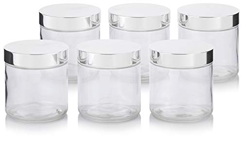 Large Clear Thick Glass Straight Sided Jar with Silver Metal Overshell Lid - 16 oz / 480 ml (6 Pack) + Labels