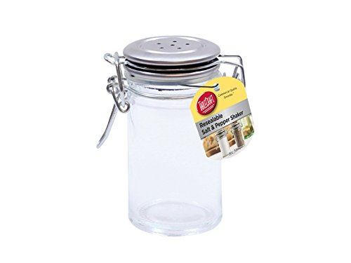 (TableCraft's 2-Ounce Resealable Salt & Pepper Shaker, Glass Jar with Stainless Steel Clip-Top Lid, Clear)