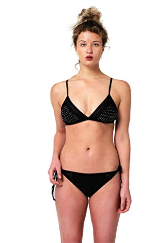 Juicy Couture Two Piece Bikini Set Mesh Insert Triangle Top and Tie Side Bottom with Side Mesh Panels with Heat Transfer Mini Pearls (Black, X-Large)