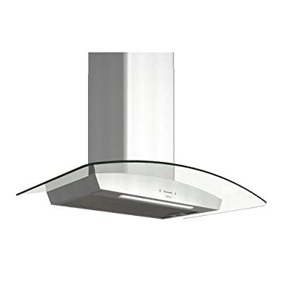 Zephyr ZRV-M90BGC 600 CFM 36 Inch Wide Wall Mount Range Hood with ICON Touch Controls, BriteStrip LED lighting and Airflow Control Technology from the Essentials Europa Collection