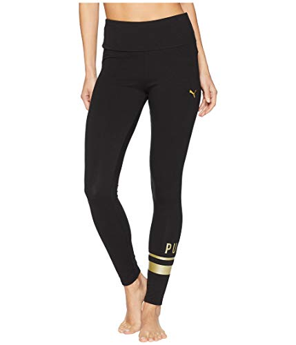 Puma Stretch Leggings - PUMA Women's Athletic Logo Leggings Cotton Black/Gold Large 25
