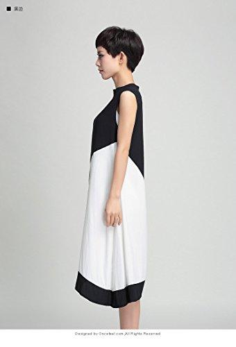ELLAZHU Femme 2016 Fashion Contrast Couleur Sans Manche Robe WO104