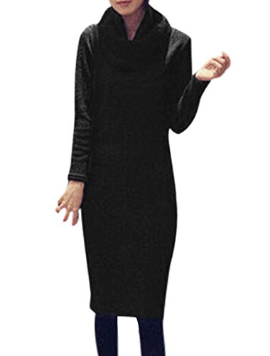 Mujer Cuello En V Manga Larga Informal Punto Vestido A Media Pierna w Bufanda Negro