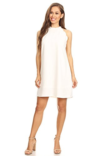 Via Jay Women's Solid Sleeveless Loose Casual Comfy A-Line Short Dress (Off White, Medium)