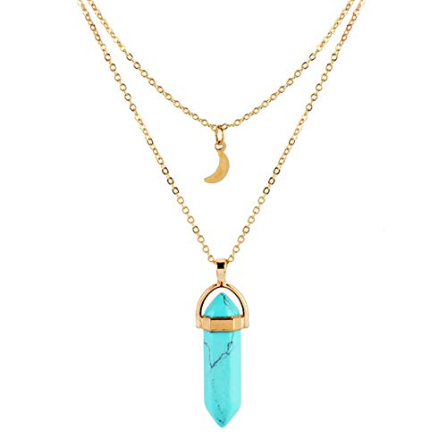 Wisslotus Layered Chain Choker Necklace Moon Opal Crystal Quartz Pendant Necklace Women Boho Multilayer Jewelry (Turquoise-1) ()