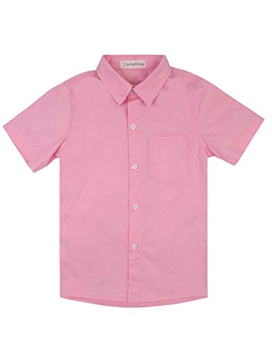 Spring&Gege Boys' Short Sleeve Solid Formal Cotton Twill Dress Shirts Pink 5-6 Years by Spring&Gege