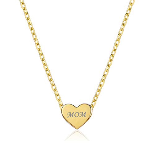 Personalized Heart Necklace, 18K Gold Plated Custom Couple/Lover Name Engravable Pendant Necklace for Women - Custom Heart