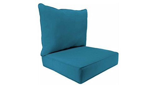 Indoor Fresco Peacock Deep-Seat Poly-wrapped Foam Cushions, 100 Percent Polyester Fabric by Jordan*