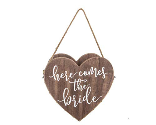 Wisechoice Flower Girl Basket with Here Comes The Bride Word Engrave | Wedding Ceremony Decoration, Heart Shape