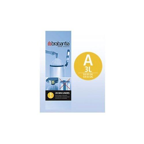 Brabantia Smartfix Bin Liners, 3litre, (20 bags) 311727 Pack of 6