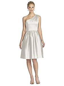 Dessy Women's Cocktail Length Peau De Soie One Shoulder Dress with Matching Belt
