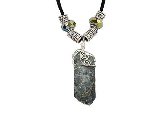 Fundamental Rockhound: Dark Blue Green Kyanite Gemstone Wire Wrap Necklace Pendant on 18