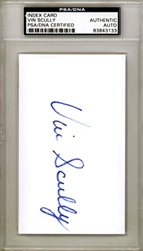 Vin Scully Autographed 3x5 Index Card Los Angeles Dodgers #83843133 PSA/DNA Certified MLB Cut Signatures