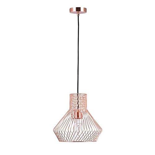 Lámpara colgante LED en jaula de metal, cobre, 60 W, 29 x 27,7 cm ...