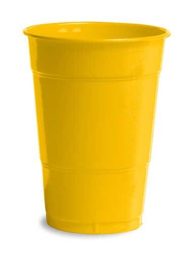 Creative Converting 28102181 School Bus Yellow Plastic Cups, 16 Oz Solid (12pks Case)