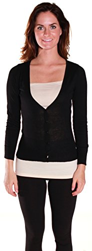 Sexy Cardigan Sweater Knit V Neck Long Sleeves in Multiple Colors (Medium, Black)
