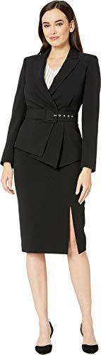 (Tahari by ASL Women's Pebble Crepe Skirt Suit with Draped Jacket Black 6)