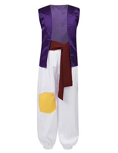iEFiEL Toddler Boys Arab Prince Halloween Costume Arabian Desert Prince Role Play Fairy Tale Suits Party Set Purple Suit 3T