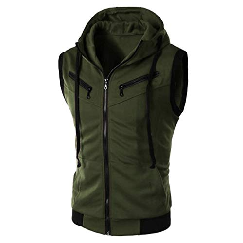 LUCAMORE Mens Solid Hipster Metallic Zip Up Sleeveless Hooded Vest Sports T Shirt