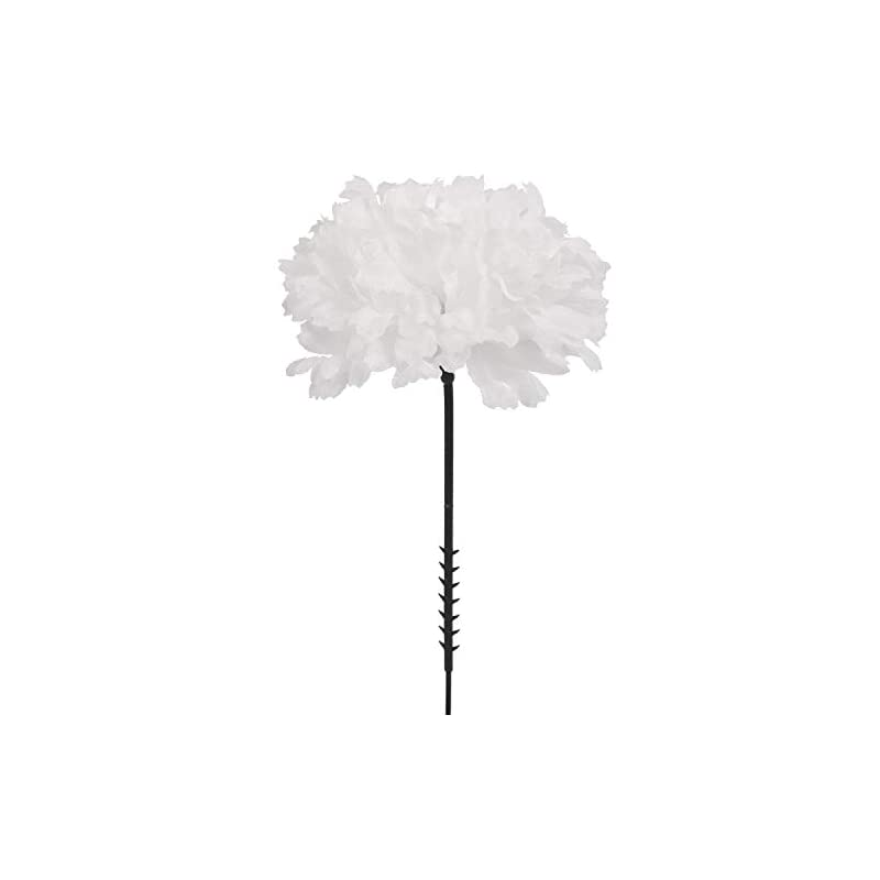 "silk flower arrangements larksilk white silk carnation picks, artificial flower heads for weddings, decorations, diy decor, 100 count bulk carnations, 3.5"" carnation heads with 5"" stems"