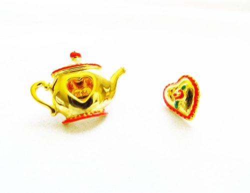 Danecraft Gold - Plated Tea Pot and Heart Pin Brooch