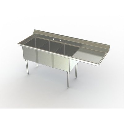 Economy NSF 100'' x 30'' Triple Bowl Service Sink Right by Aero Manufacturing