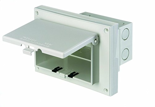 Arlington DBHR171W-1 Low Profile IN BOX Electrical Box with Weatherproof Cover for Retrofit Siding Construction, Dutch Lap, Horizontal, White