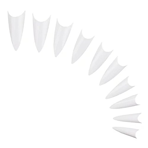 Brendacosmetic 1000Pcs White Manicures False Frence Nail Tips ,Sharp Ending Stiletto Design Acrylic for Nail Art