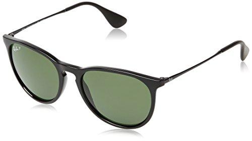 Ray-Ban RB4171 Erika Round Sunglasses, Black/Polarized Green, 54 mm