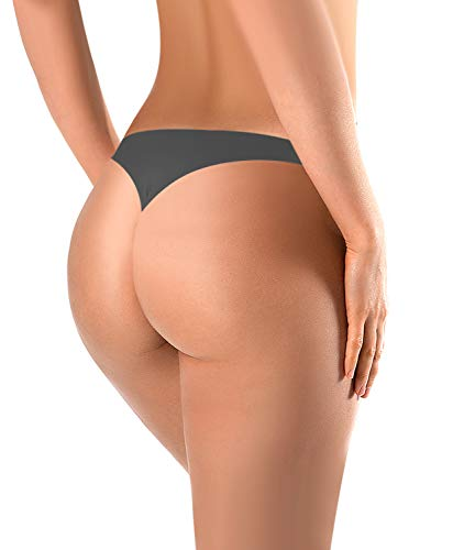 BUBBLELIME Sports Thongs for Women Microfiber Low Rise No Show Thong Pantie, 1pack Darkgray, X-Small