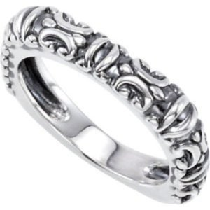 Antiqued Square Stackable 3.9mm Sterling Silver Ring, Size 7 by The Men's Jewelry Store (for HER)