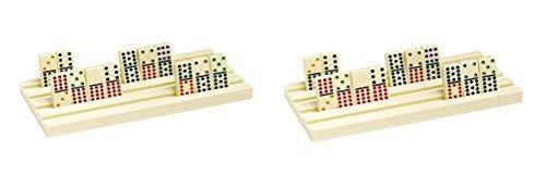 2 Plastic Dominoe Racks Hold up to 44 Jumbo Tiles Each by CHH
