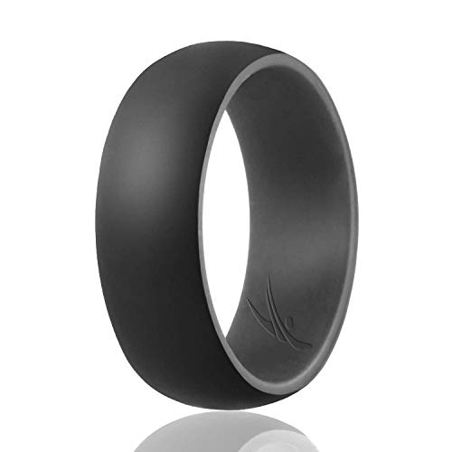 Seven Colour - ROQ Silicone Wedding Ring for Men -Duo Collection Dome Style - Single Silicone Rubber Wedding Band - Classic Design - Grey, Black Colors- Size 7