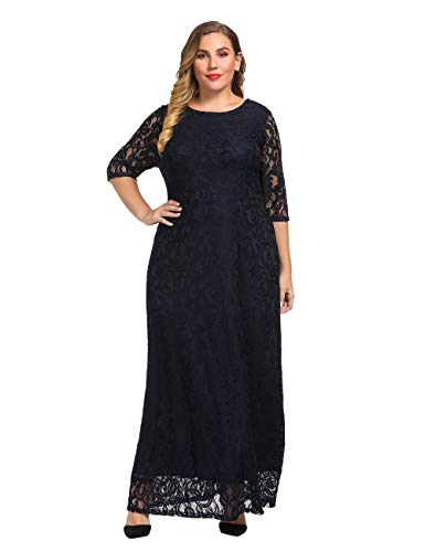 Chicwe Women's Plus Size Stretch Lace Maxi Dress – Evening Wedding Cocktail Party Dress Navy 2X