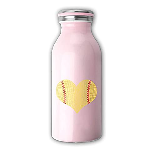 I LOVE SOFTBALL HEART Vacuum Insulated Stainless Steel Bottle - 12-Ounce Cup Pink - Blue Flowers Creamer