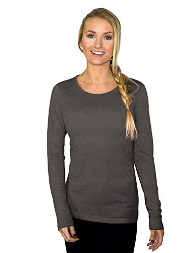 Woolx Women's Remi Lightweight & Breathable Merino Wool Long Sleeve Tee, Graphite Heather, XX-Large