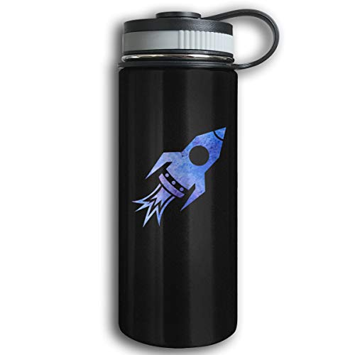Kkidj Ooii Blue Rocket Ship 17oz Stainless Steel Vacuum Insulated Water Bottles with Leak-Proof Cap