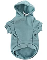 uxcell Pet Dog Hooded Hoody Sweatshirt Clothes Cotton Apparel Puppy Cat Winter/Spring/Fall Costume Outfits Fleece Warm Coat Pale Green XS