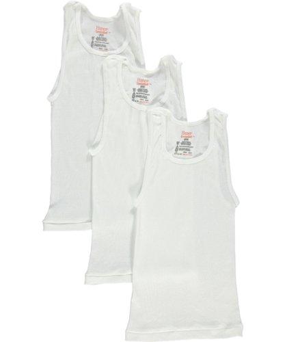 B3723N Hanes boys TAGLESS ComfortSoft Cotton A-Shirt 3-Pack -White-XL