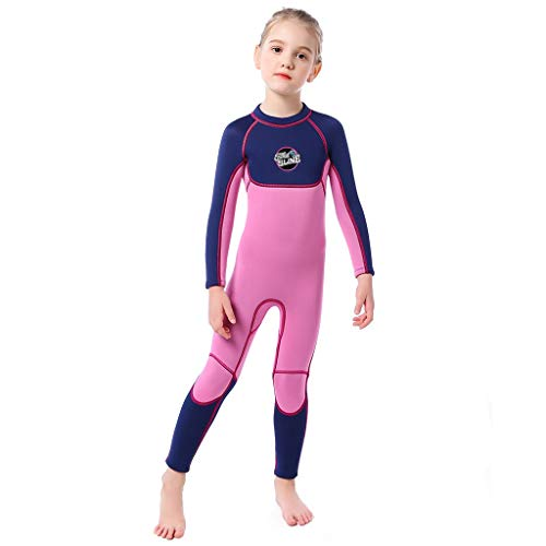 (CapsA Sunscreen Swimsuit Girls Kids Long Sleeves One Piece UV Protection Thermal Swimsuit Dark Blue)
