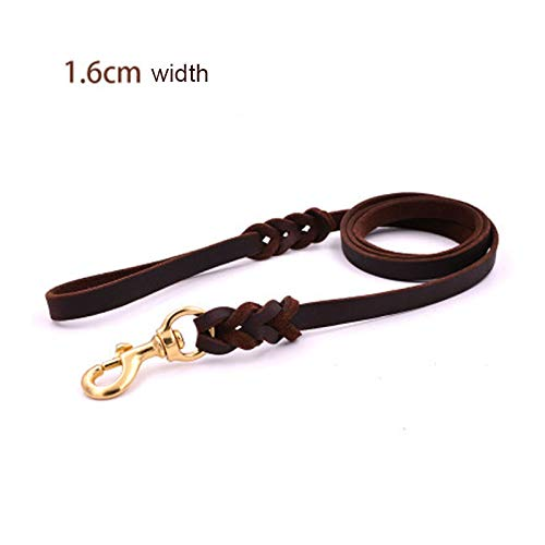 Bxfdc Leather Dog Leash, Medium and Large Dog Leash, Training Rope, Dog Leash, Dark Brown (Color : Large, Size : 270CM)