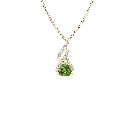 (Trillion Peridot Solitaire Pendant with Diamond Swirl in 14K Yellow Gold (4mm Peridot))