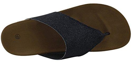 Cambridge Select Womens Thong Flip-Flop Mid Wedge Heel Sandal Black zKX6lOU4lp