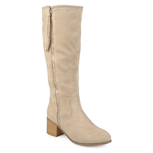 Heel Mid Calf Boots (Journee Collection Womens Regular and Wide Calf Stacked Wood Faux Suede Heel Mid-Calf Boots Stone, 9 Regular US)