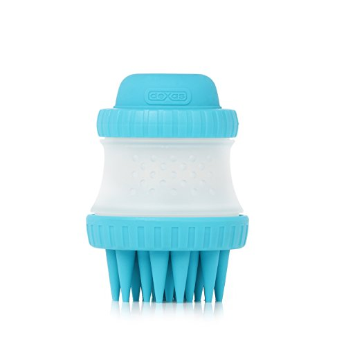 Dexas ScrubBuster Silicone Dog Washing Brush with Built-in Shampoo Reservoir, - Scrub Buster