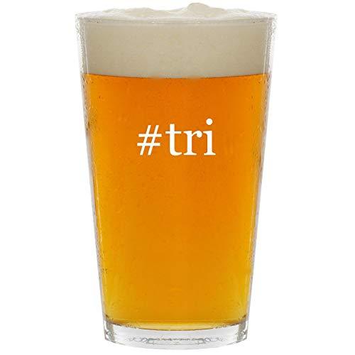 #tri - Glass Hashtag 16oz Beer Pint (Tri Tronics Trashbreaker G3 Exp 6 Dog)
