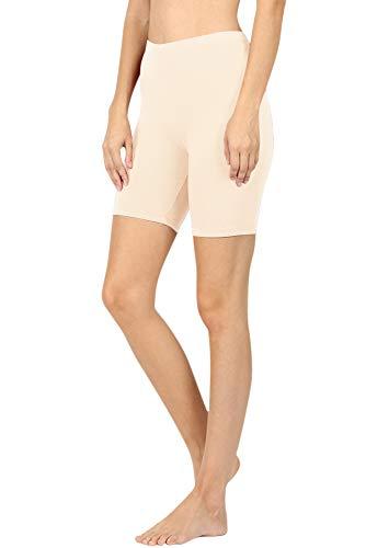 NioBe Clothing Womens Stretchy Cotton Spandex Biker Running Shorts Bermuda Leggings (Small, Taupe)