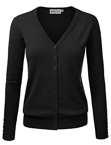 (MAYSIX APPAREL Women's Knit Long Sleeve Lightweight Button Down V-Neck Sweater Cardigan BLACK 1XL)