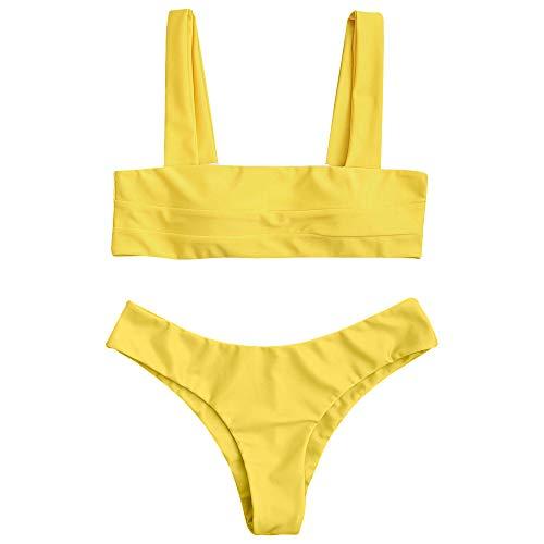 ZAFUL Women's Wide Straps Padded Solid Two Piece Bandeau Bikini Set Swimsuit (Yellow, M)